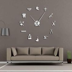 Dental Pattern Decorative Large 3D Wall Clock for Ultimate Dentist Office Decor