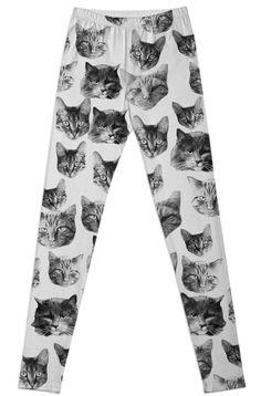 kitty leggings by ROMEO LOVE STUDIO on Print All Over Me. #paomleggings #paomcats