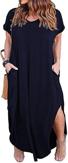 Gibobby Long Maxi Dresses for Women,Gradient Color Block Tie-Dyed V Neck Short Sleeve Summer Autumn Loose Long Dress