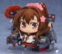 **First of the Yamato-class battleships, Yamato. Heading out!**  From the popular browser game 'Kantai Collection -KanColle-' comes a figure of the first Yamato-class battleship 'Yamato'! The figure is joining the adorable 'Medicchu' series of chibi figures! All her characteristic features have been carefully added to the chibi design, including the huge 46cm three-barreled turrets and umbrella...