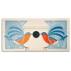 Home is where the heart is for these eastern blue birds, designed by Charley Harper.