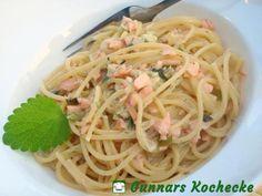 Spaghetti mit Räucherlachs in Zitronen-Sahne-Sauce