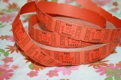 Vintage Carnival Tickets ORANGE ephemera Halloween by chrystelle