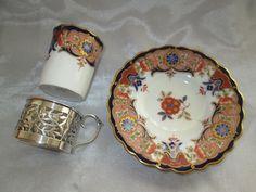LOVELY VINTAGE AYNSLEY IMARI CABINET CUP AND SAUCER HALLMARKED SILVER HOLDER   eBay