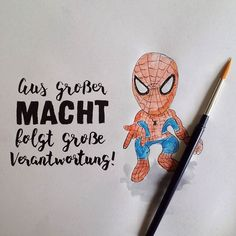 Aus großer Macht folgt große Verantwortung! (#letterattackchallenge von @FrauHoelle)  #lettering #handlettering #brushlettering #brushpen #handwritten #typography #watercolor #doodle #sketchbook #quote #spiderman #marvel #superhero