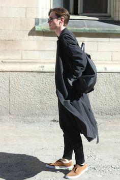 Vintage Sunnies, Weekday Collection Coat, Cos Backpack, Cos Trousers, H&M Shoes, Slippers
