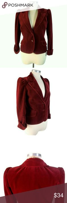 VTG Jaeger Velvet Fitted Blazer Rich Carnelian Red Jacket by Jaeger. High puff shoulders and fitted waist. Gathered detail behind collar at nape. Fully lined. Two button closure. Cuffs can be worn up or down. 100% cotton. Timeless dialing with vintage quality craftsmanship. Inventor of the camel hair coat, British brand Jaeger is known for their high-quality natural fibers. Modeled by Audrey Hepburn Marilyn Monroe in the 50s and Jean Shrimpton in the 60s. Shoulders - 14.5. Chest - 35. Waist…