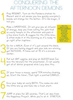 Great ideas for getting through the hours of 3-7pm.  The only tip I would add is, play some good music and dance!