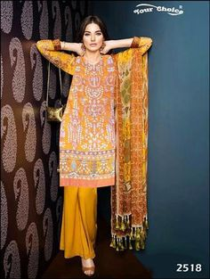 The perfect festival collection of salwar suits can do wonders to any woman's personality and bring the best out of her. Latest Salwar Suits, Pakistani Suits Online, Palazzo Style, Palazzo Suit, Style Me, Kimono Top, Sari, Yellow, Casual