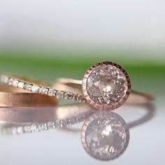 Morganite Milgrain Engagement RIng In 14K Gold Ring - Made To Order. $800.00, via Etsy.