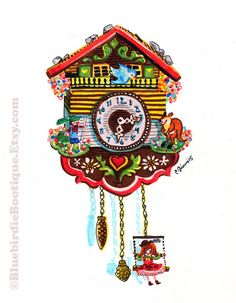 Cuckoo Clock! I found it at a thrift shop a long time ago, wanted to make an illustration out of it- it's so cute and colorful :)