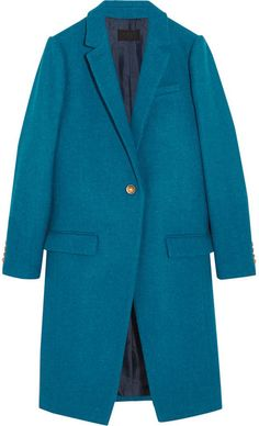 $500, Teal Coat: J.Crew Collection Harris Tweed Wool Coat. Sold by NET-A-PORTER.COM. Click for more info: http://lookastic.com/women/shop_items/141757/redirect