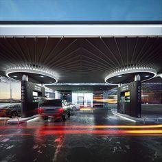 Gas-Station on Behance Entrance Signage, Car Charging Stations, Filling Station, Canopy Design, Bus Station, Facade House, Architecture Design, Light Architecture, Harley Davidson