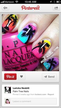 makeup & nails palm tree nails, b Sunset Nails, Beach Nails, Sunset Gradient, Get Nails, Love Nails, Nail Art Inspiration, Hawaii Nails, Palm Tree Nails, Nagel Gel