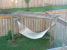 Hammock Pergola, good idea, provides some shade, hang a plant at each end, maybe a shelf at each end to hold a beverage. I believe the back yard needs this! Maybe the pergola could be where we plant grapes? Backyard Projects, Outdoor Projects, Garden Projects, Backyard Ideas, Outdoor Fun, Outdoor Spaces, Outdoor Decor, Outside Living, Outdoor Living