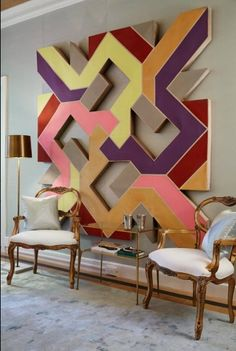 Modern wall art , antique chairs - oversized abstract art - home decor trend (continues) -- mixing modern + antique