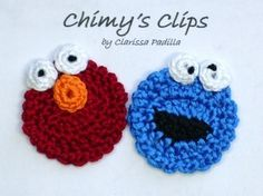 Handmade Crochet Elmo and Cookie Monster Applique Chimys Clips