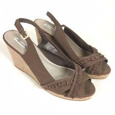 f874517d42c6 American Eagle Womens 10W Slingback Cork Wedge Heels Brown Ruffled Canvas  Upper  fashion  clothing