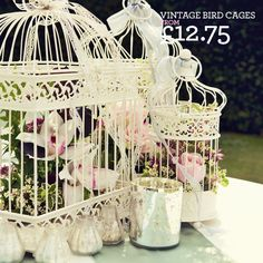 vintage birdcages with flowers