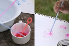easy watercolor painting ideas | Teach your kids to this. They are happy to work with bubble painting ...