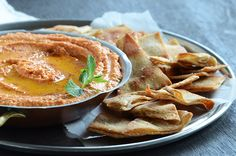 Quick Smoky Red Pepper Hummus + Baked Pita Chips