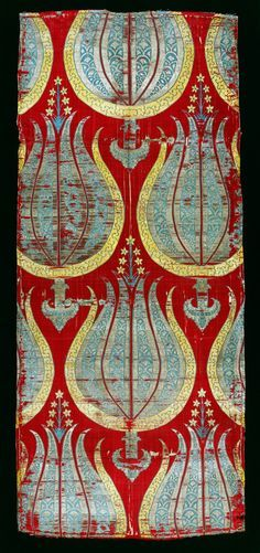 Lampas-woven textile with tulips, silk and silver lamella  Turkey; 2nd half of 16th century