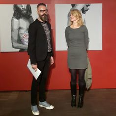 With friend, opening group exhibition in Museum of the City, Lodz, Poland