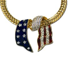 Looping American Neckslide - Swarovski crystal with enamel gold-plate pendant in a looping design. (Chain sold separately).  Price: $20.00  http://www.starsandstripesproducts.com/looping-american-neckslide/