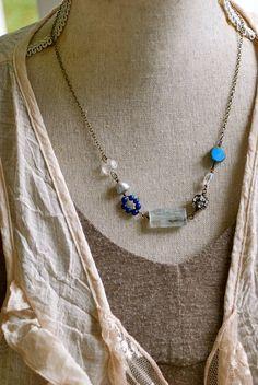 Jessica. bohemian gemstone beaded necklace. by tiedupmemories