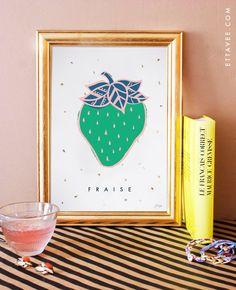 french - Strawberry/ fraise illustrated art print. home decor. kitchen decor. yellow. gold leaf. fruit print.