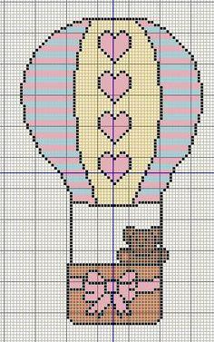 Buzy Bobbins: Cute bear in a hot air balloon - Cross stitch design