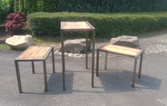 Sitzgruppe Loft design Tisch Stuhl Eisen Metall Holz Künstler Handarbeit