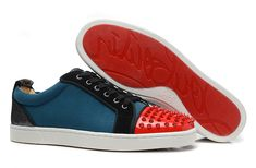 $162 Christian Louboutin Dark Green Matte Red Spike Sneakers