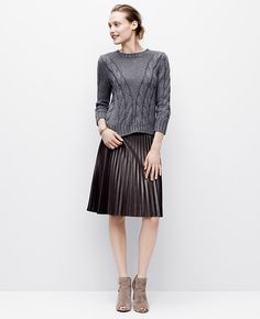 Faux Leather Pleated Skirt   Ann Taylor