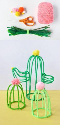 Cactus decorativos DIY - handmadecharlotte.com - DIY Pipe Cleaner Cactus #cactusdiy