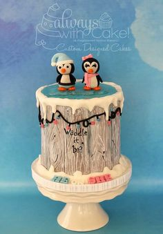 Gender Reveal Cake - I would go simpler but I like having two cute animals, one girl, one boy as the central focus :)