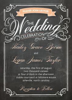 Wedding Invitations - Swirly Chalkboard  Kleinfeld Paper
