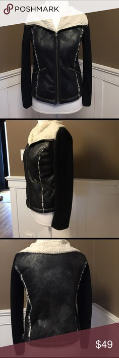 Ella Moss faux fur lined jacket The vest is fur lined with spandex black sleeves , Ella Moss Jackets & Coats