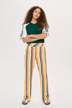 Rainbow Striped Wide Leg Trousers