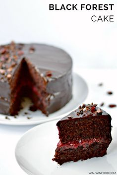 Black Forest Cake | WIN-WINFOOD.com Decadent combination of moist chocolate cake, sour cherry filling and luscious chocolate frosting. #healthy #lowfat #cleaneating #vegan #wholegrain #sugarfree option