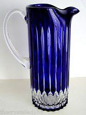 AJKA CASTILLE COBALT BLUE CASED CUT TO CLEAR LEAD CRYSTAL WATER PITCHER Im Blue, Kind Of Blue, Blue And White, Antique Glass, Antique Bottles, Vintage Bottles, Vintage Perfume, Azul Anil, Bleu Cobalt
