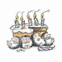 A Hedgehog birthday overindulgence .I have this Penny Black print in stamp… Happy Birthday Images, Birthday Messages, Happy Birthday Wishes, Birthday Greetings, Birthday Cards, Birthday Memes, Margaret Sherry, Hedgehog Art, Cute Hedgehog