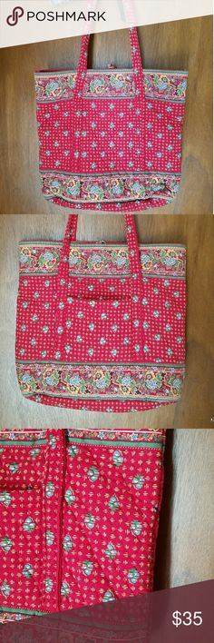 Vera Bradley Red Large Tote Perfect for summer weekend trips or everyday carry all. The bright red floral pattern has accents of cream , yellow, green and would go with any outfit. It is in good condition. The outside is very clean & bright but it does have a few pen marks inside. No fraying or holes. Vera Bradley Bags