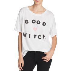 Wildfox Good Witch Tee ($71) ❤ liked on Polyvore featuring tops, t-shirts, clean white, wildfox t shirts, wildfox tees, wildfox, white tee and white tops