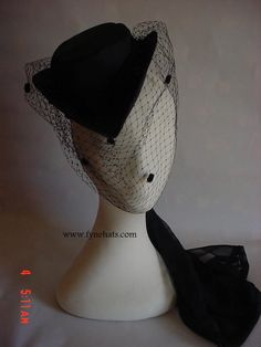 Black Victorian Hat with Net - Yes! Yes! Yes! I have always loved the angular side hat with mini veil! So cute!