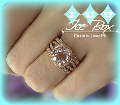 Morganite Engagement Ring Two Matching Diamond Band 2.2ct 8mm Round Cut Morganite in a14k Rose Gold Diamond Halo with Two Matching Bands  ~  $1,860