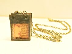 Glass Journal Tiny Journal Book Charm Book Necklace by Mystarrrs, $40.00