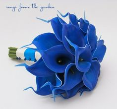 royal blue wedding bouquet | Royal Blue Real Touch Calla Lilies Bridal Bouquet Groom's Boutonniere ...
