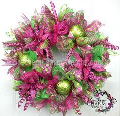 Raspberry Pink Christmas Mesh Wreaths Artificial Winter