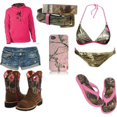 Pink and Camo, created by ginabina96 on Polyvore